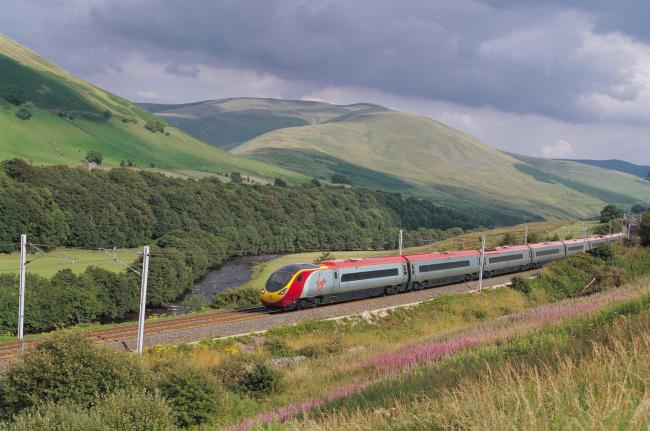 A Virgin Train in operation on the West Coast main line