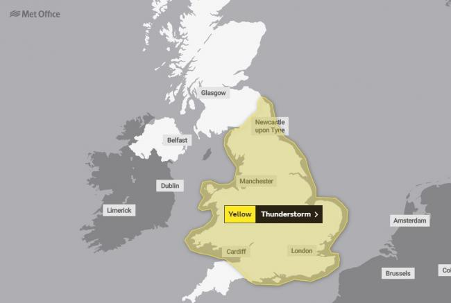 WARNING: The Met Office have issued a yellow weather warning for thunderstorms on Sunday and Monday           Picture: Met Office