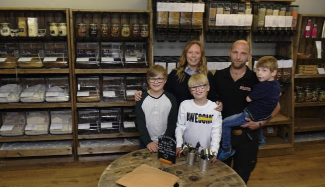 Windermere Roots Refill Pantry proprietors Keith and Hayley Mason with their children (from left) Ted, Ethan and Brock....JON GRANGER.