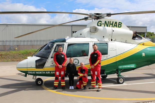 The Westmorland Gazette: Left to right: Pilot Phil Lambert, Alannah Maher, Dr Andy Barrington and paramedic Andy Dalton