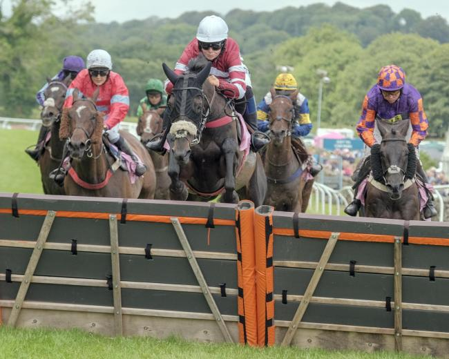 The field battles for position during the Banks-Lyon jewellers Lady Riders Handicap Hurdle Race at Cartmel.  