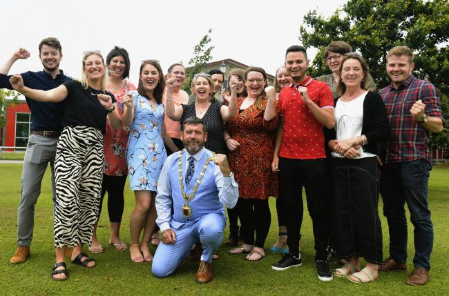The newly-qualified teachers celebrating at The Queen Katherine School in Kendal. Picture: JON GRANGER
