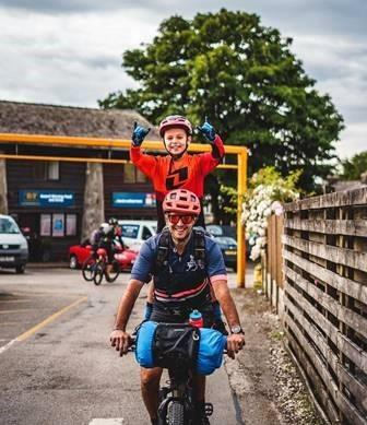 Stuart Taylor and his son Zak on the 100-mile tandem ride around South Lakeland