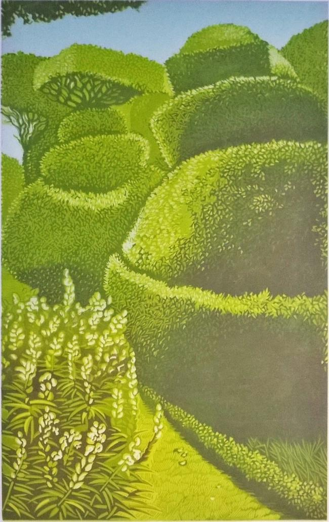 Beverley White's Topiary linocut is on show in One Fine Day, the latest exhibition at The Beach Hut gallery, which also features the work of Martin Copley, Judy Evans and Clyde Olliver
