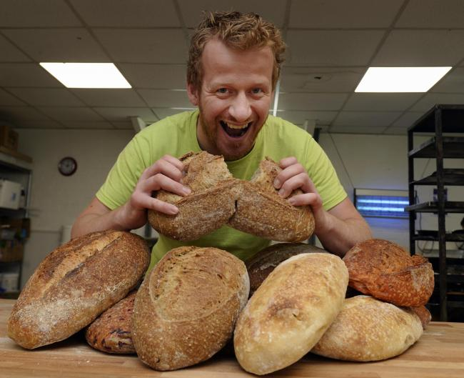 Daniel Nemeth of Seasons Bakery at Ingleton with his award winning products. Pic: Jon Granger