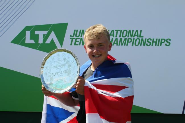 Billy Blaydes with the Silver Trophy awarded for winning the national 16U title
