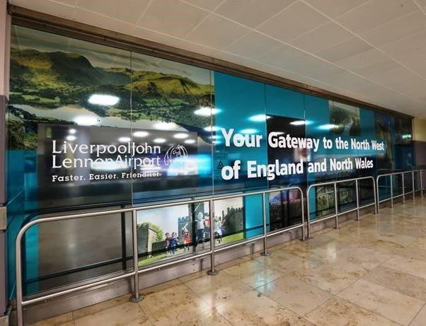 Advertising boards at Liverpool airport