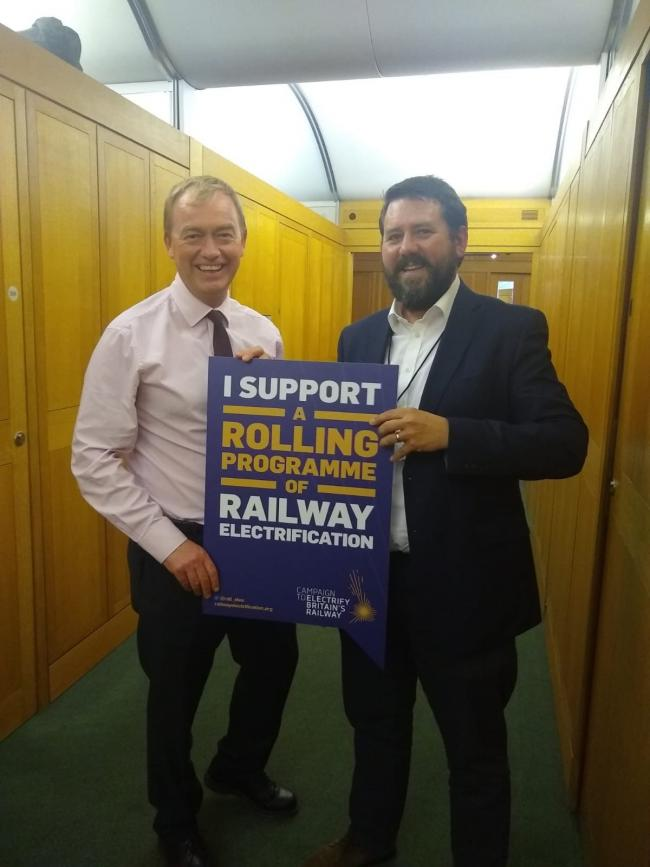 Tim Farron with Noel Dolphin from the Campaign to Electrify Britain's Railways