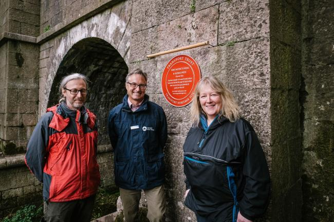 Hincaster Tunnel Red Wheel plaque is unveiled. Pictured (l to r) are William Froggatt; Richard Parry and Cllr Dyan Jones.