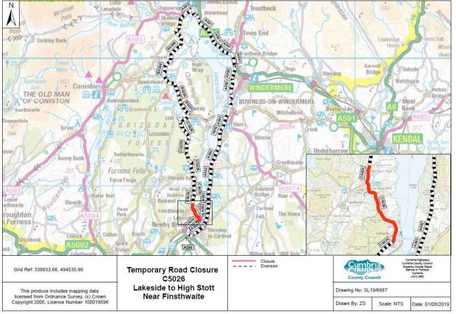 Section of South Lakes road to close for around 12 days