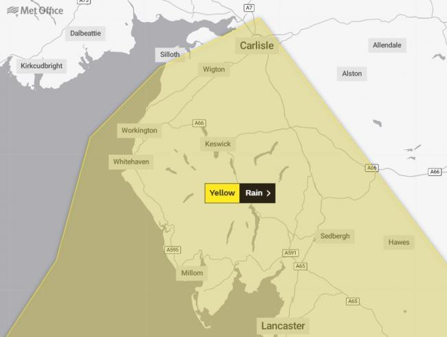 A yellow Met Office weather warning has been issued for rain on September 21, 2019