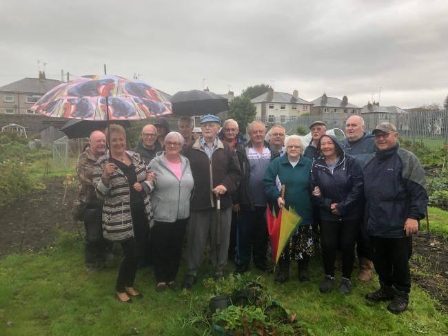 Harry Braithwaite with wife Doris and other allotment holders in Ulverston