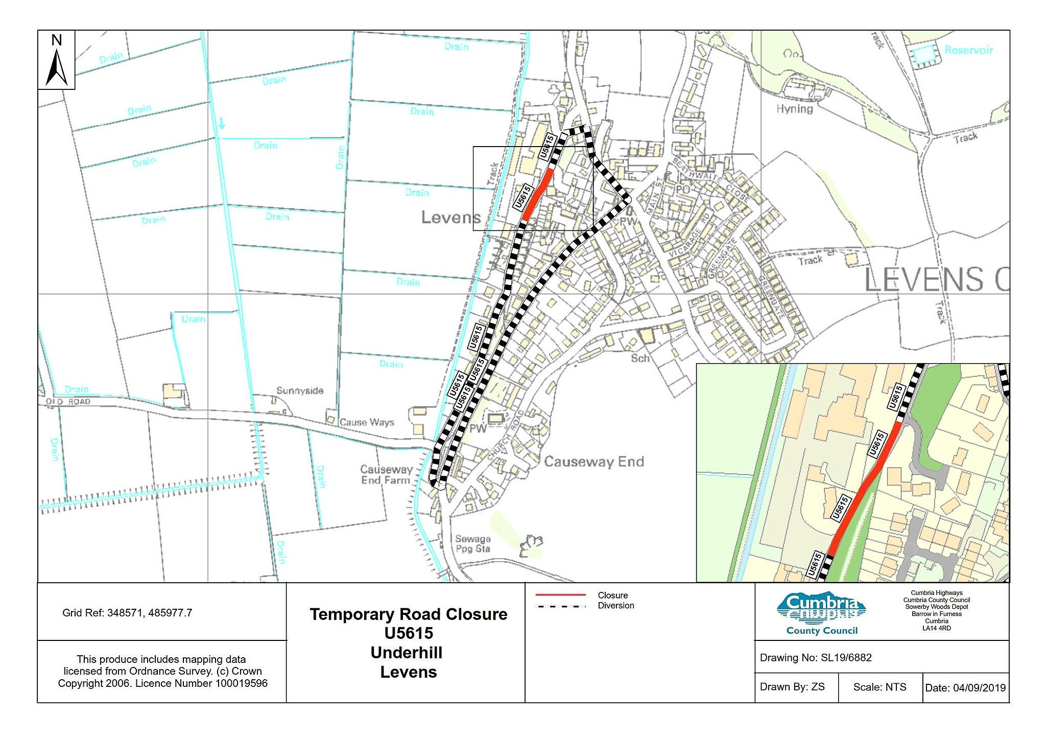 Levens road to close for a week for repairs