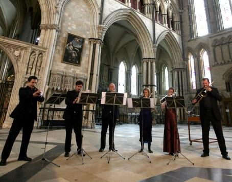 The five members of the English Cornett and Sackbut Ensemble are fine players