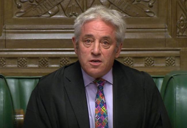 Speaker John Bercow announcing in the House of Commons in London whether Government can hold a debate and vote on the Brexit deal. PA Photo. Photo credit should read: House of Commons/PA Wire