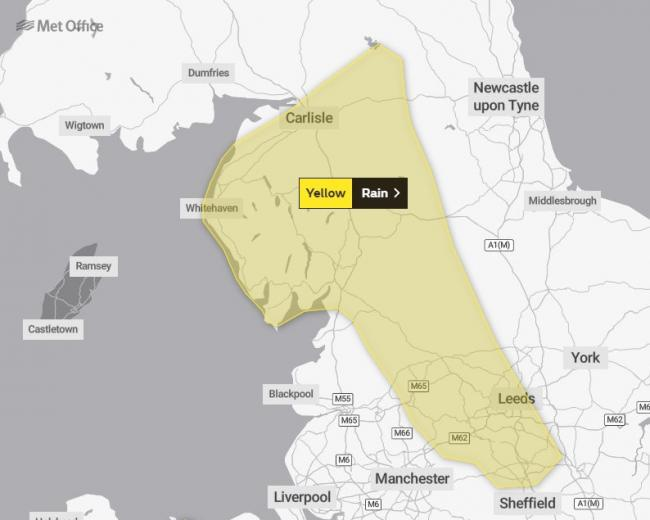 WARNING: The Met Office have issued a 36-hour alert for the county between Friday lunchtime and Saturday night              Picture: Met Office