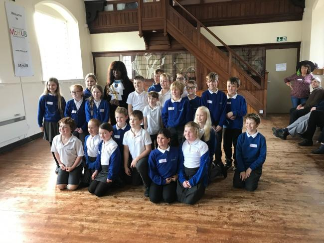 High Sheriff Marcia Reid-Fotheringham with Milnthorpe Primary School pupils