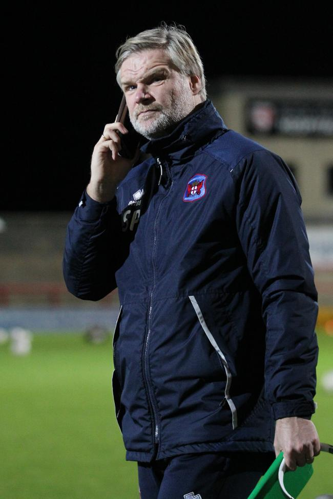 Steven Pressley pictured at Morecambe before his last game in charge (Barbara Abbott)