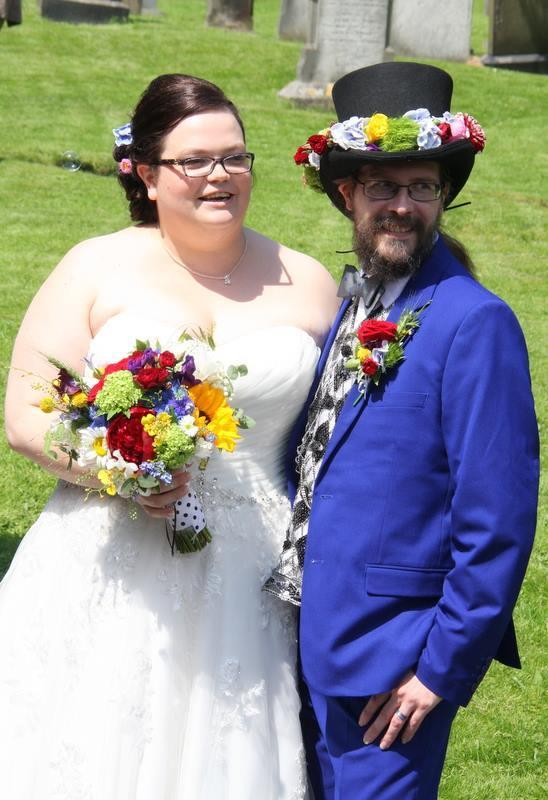 Verity and Martyn Turner on their wedding day. Picture: Flower Design Facebook page