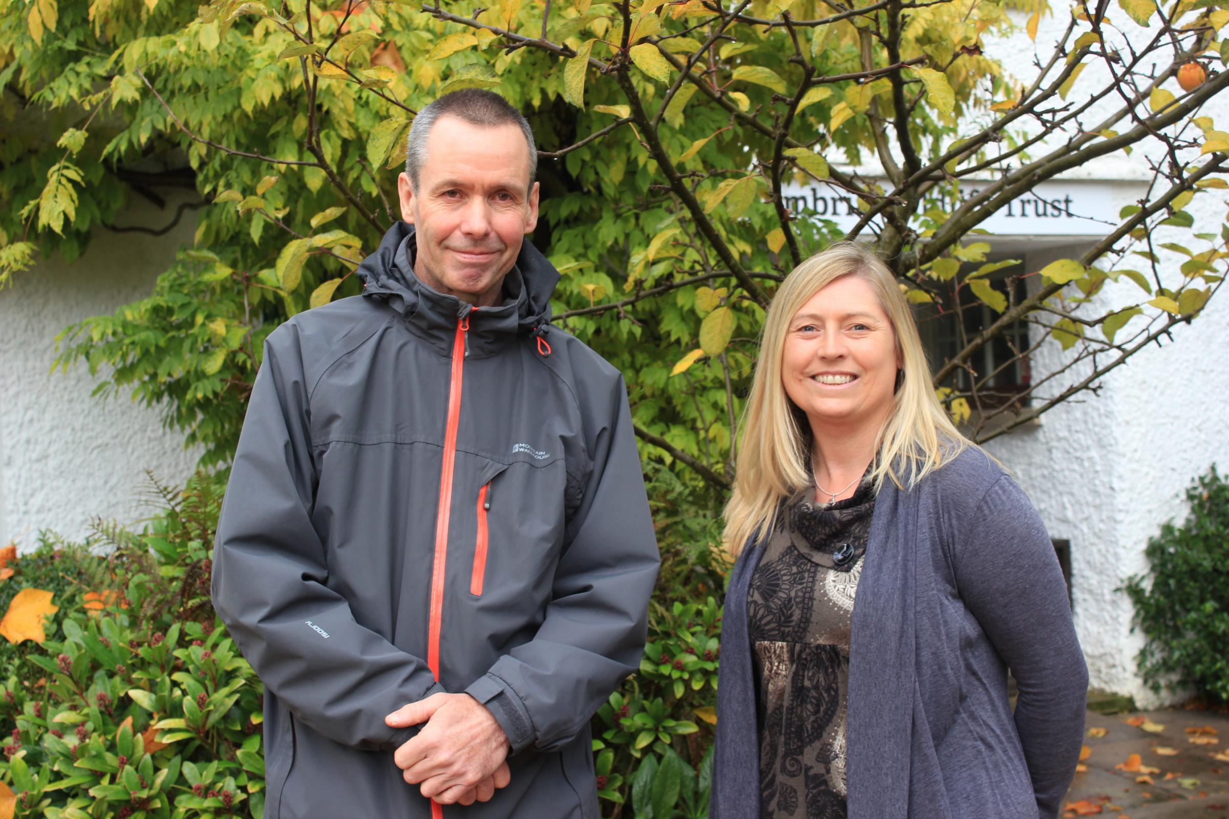 Gardener at Ryebeck Hotel presents donation to Cumbria Wildlife Trust