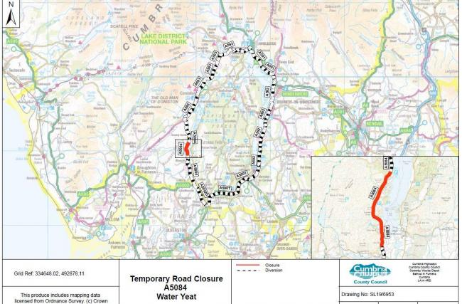 Section of South Lakes road to shut for around five days