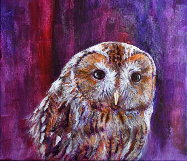 Rebecca Bennett's acrylic Tawny Owl, one of the striking images of the wildlife and countryside of Rebecca's native Lake District, captured in her Magical Nature exhibition