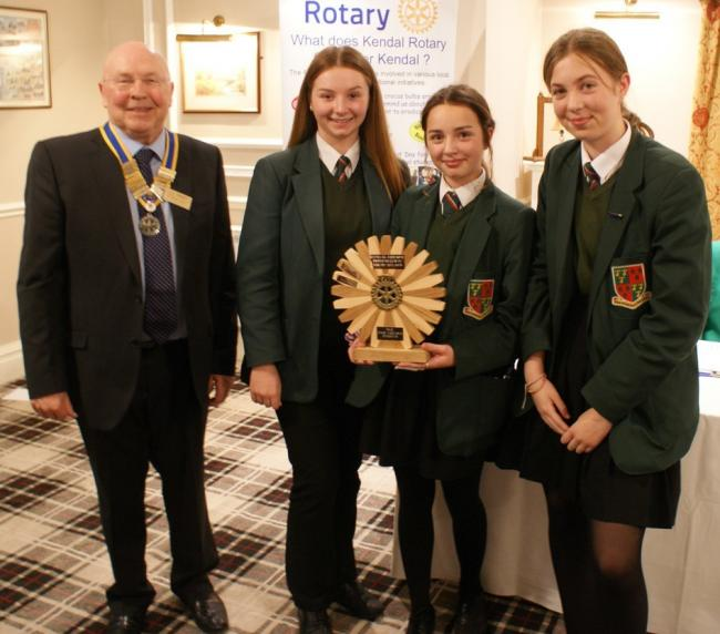 L to R   Peter Smith President of Kendal Rotary Club, Jessica Hartley, Nicole Berry and Hannah Stoddard