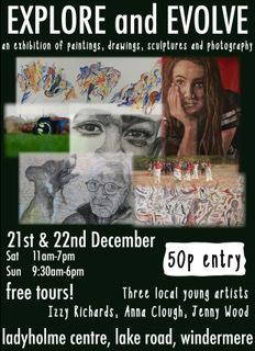 Artists Anna Clough, Izzy Richards and Jenny Wood stage their Explore and Evolve exhibition at the Ladyholme Centre in Windermere, on December 21/22
