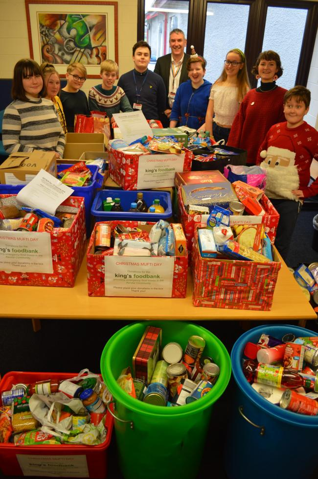 Pupils at QKS in Kendal donated items to the town's food bank