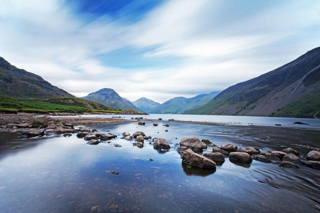 Wasdale in the Lake District, Cumbria, England - showing Kirk Fell, Great Gable and the foothills of Scafell Pike, over Wast Water, Englands deepest lake..