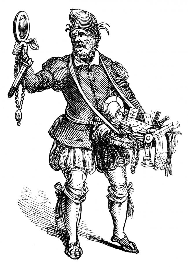 An 19th century depiction of a pedlar