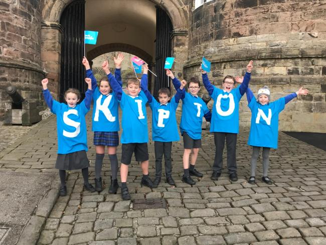 Kids from Water Street Primary School in Skipton celebrate the Tour de Yorkshire announcement
