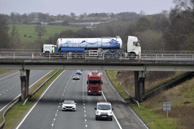 A United Utilities road tanker at junction 42, Carlisle South. Storm Ciara caused damage to a major water supply pipe in the County. The Penrith area were experiencing supply issues: 10 February 2020.STUART WALKER.
