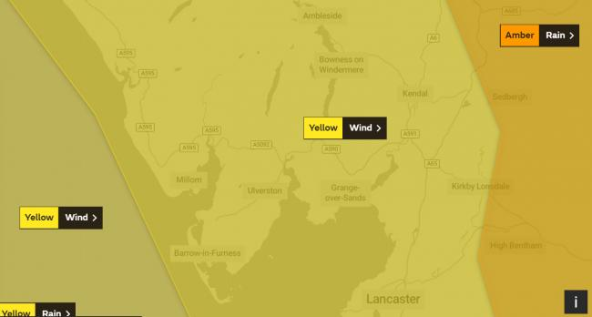 Yellow weather warning for Cumbria for more wind and rain