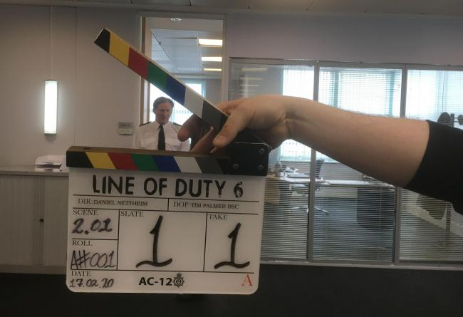 For use in UK, Ireland or Benelux countries only ..Undated BBC handout photo of  Adrian Dunbar on set as filming the new series of the BBC drama, Line Of Duty, commences. PA Photo. Issue date: Monday February 17, 2020. See PA story SHOWBIZ Duty. Photo cre