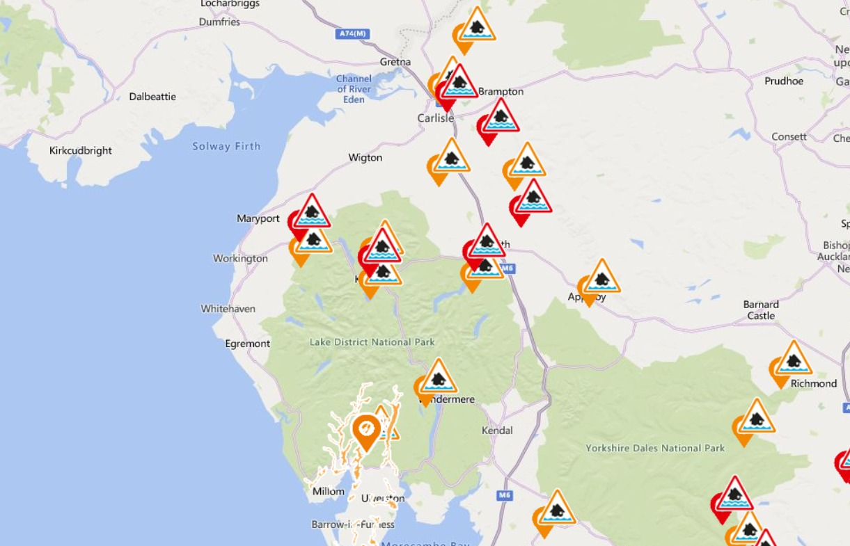 Cumbria flood risk round-up: Six warnings are 11 alerts in place this afternoon