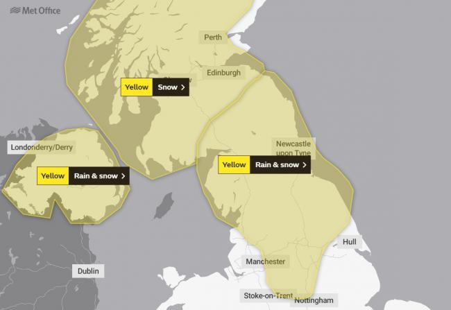 Yellow weather warning for rain and snow, February 24. Picture: Met Office/OpenStreetMapContributors
