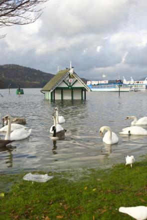 Cumbria flooding: Boats sunk on Windermere