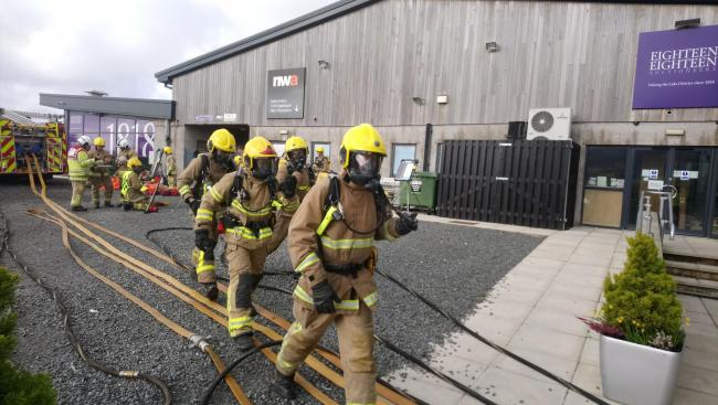 A fire and rescue training exercise in Cumbria