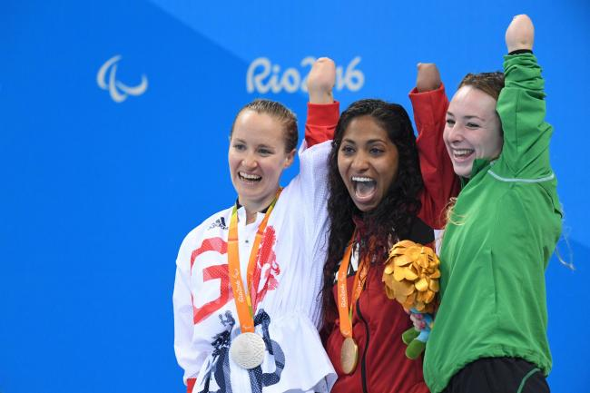 Ellen Keane (right) won bronze at the 2016 Paralympic Games in Rio