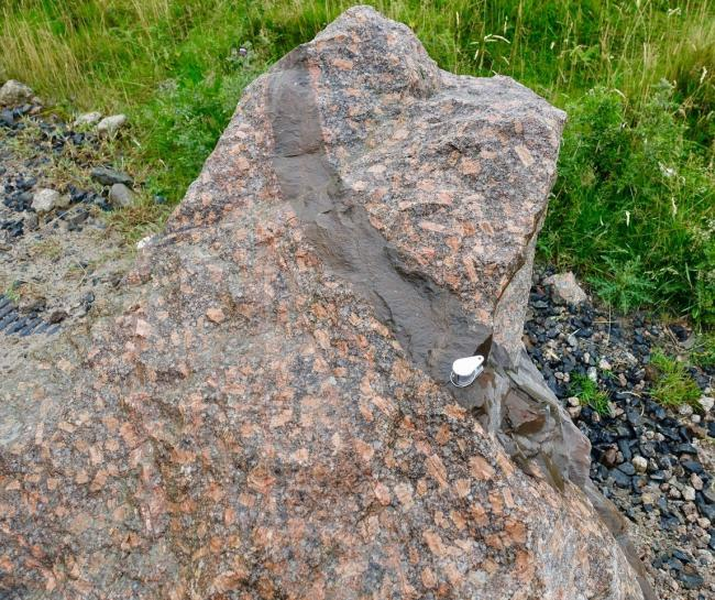 Shap Granite with distinctive pink feldspar crystals (photo R Wrigley)