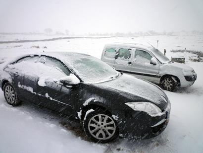 Frozen cars near Ribblehead viaduct.