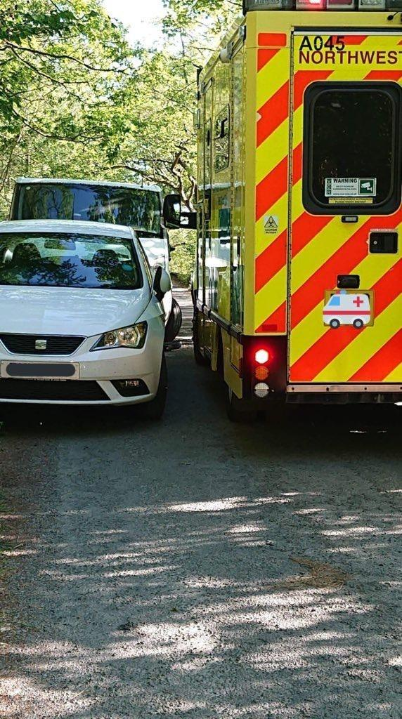 DELAY: Inconsiderate parkers made it hard for this ambulance to pass