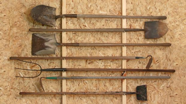 The Westmorland Gazette: Get heavy tools, rakes, shovels, etc., off the floor using utility hooks or, even, nails. Credit: Getty Images / Twoellis