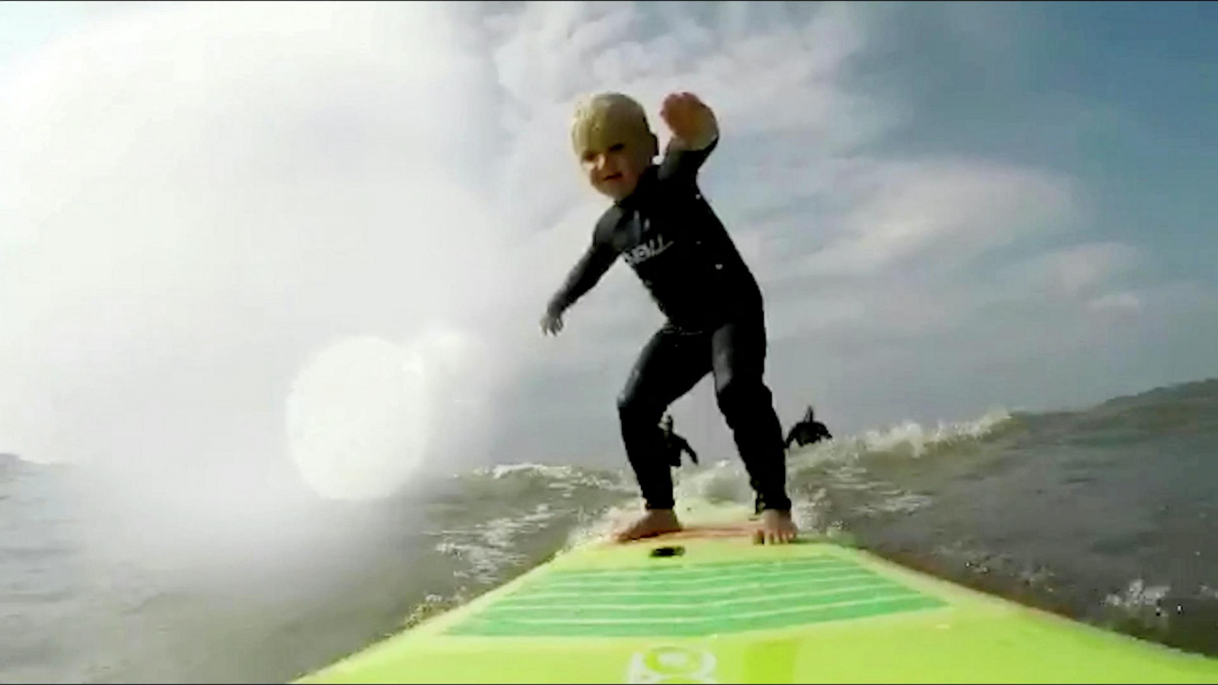WONDERFUL UK NEWS: Video footage shows four-year-old surfing the waves