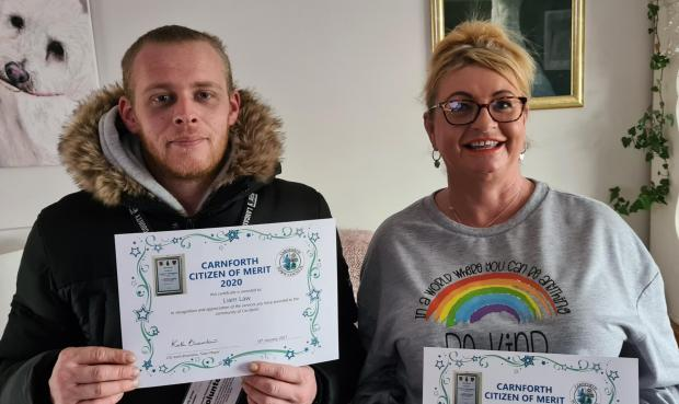 The Westmorland Gazette: NOMINATED: Liam Law and Andrea Wren, organisers of the Carnforth Covid Support Group were nominated