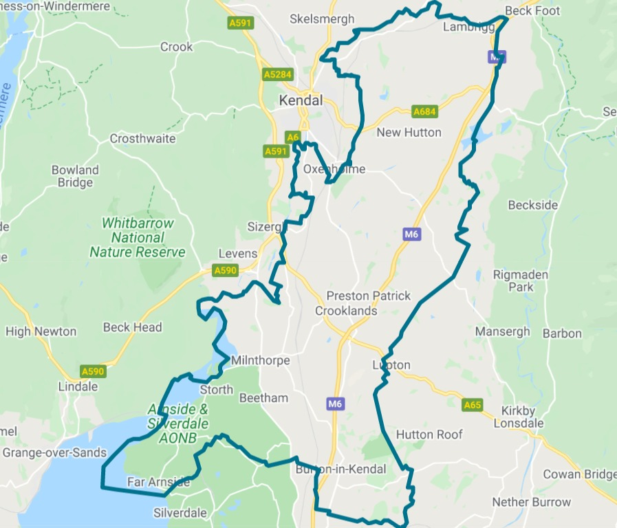 MAP: Arnside, Milnthorpe, and Endmoor