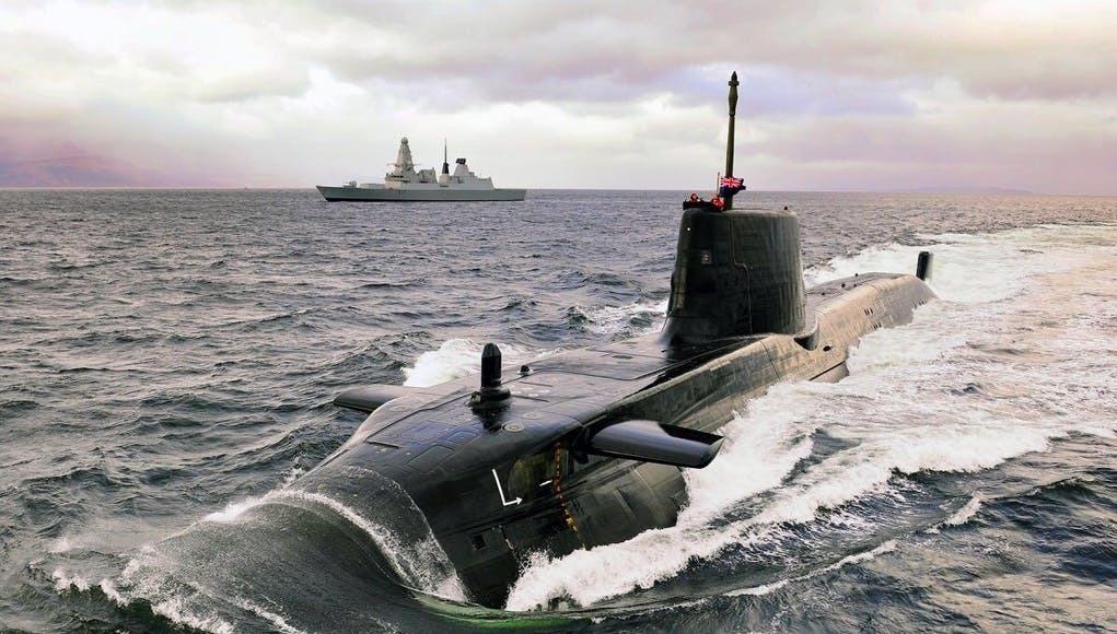 A Royal Navy Astute Class submarine built at BAE Systems in Barrow