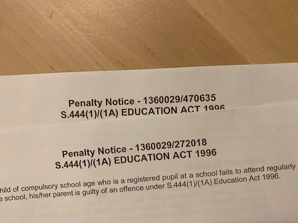 The penalty notices sent to the Moffats