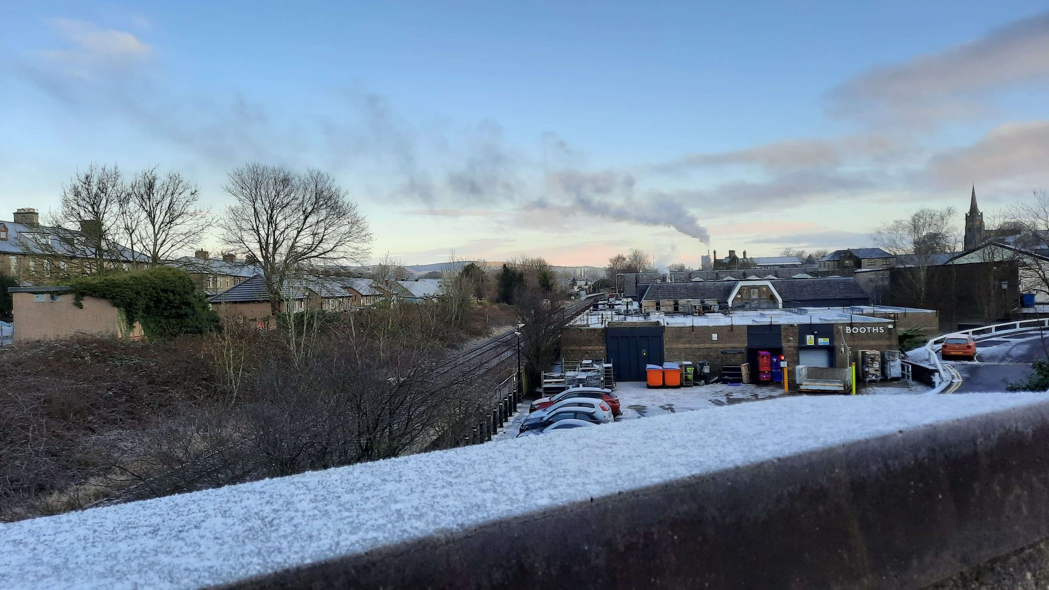 The smoke coming from Hanson Cement in Clitheroe